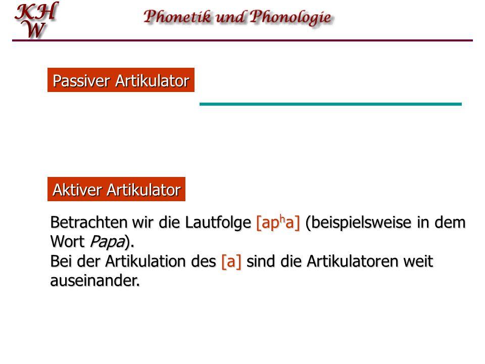Passiver Artikulator Aktiver Artikulator. Betrachten wir die Lautfolge [apha] (beispielsweise in dem Wort Papa).